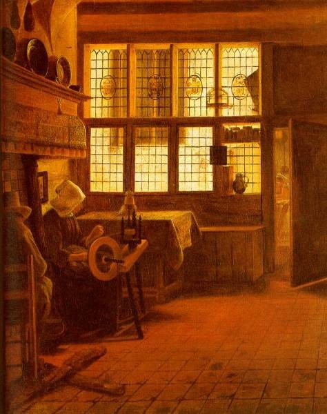 Interior With A Woman At A Spinning Wheel